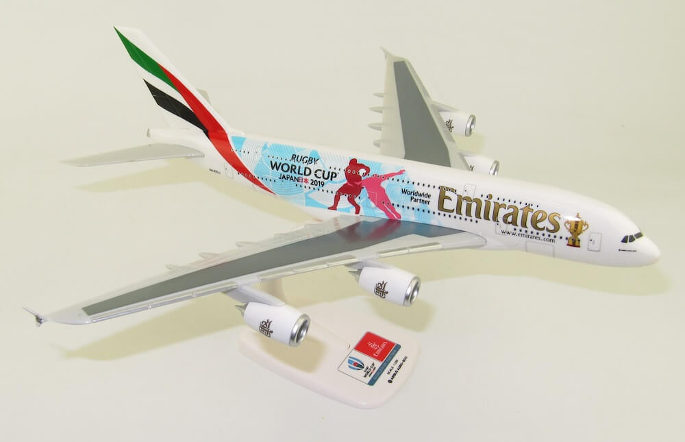 """Airbus A380-800 Emirates """"Rugby World Cup Japan 2019"""" A6-EEU model samolotu 1:250"""