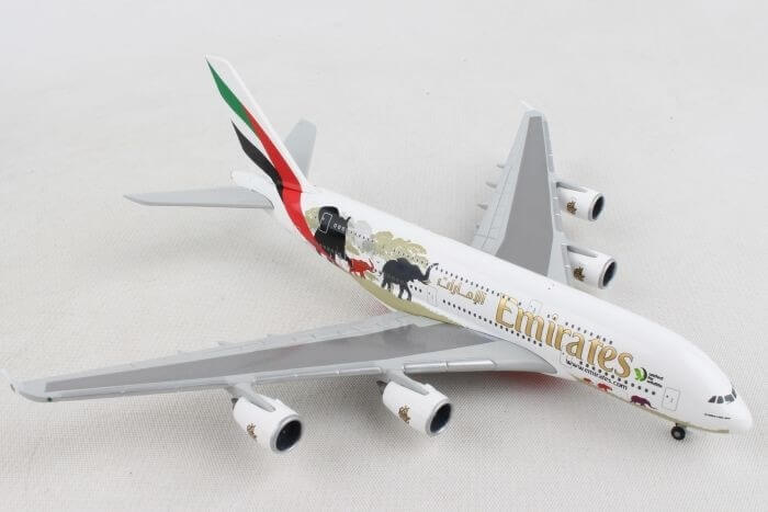 """Airbus A380-800 Emirates """"United for Wildlife"""" w skali 1:500 Herpa 532723"""