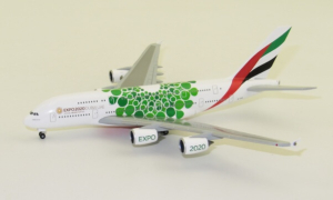 Airbus A380-800 Emirates Green Expo 2020 w skali 1:500 Herpa 533522