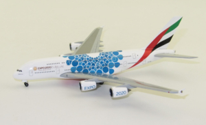 Airbus A380-800 Emirates Blue Expo 2020 w skali 1:500 Herpa 533713