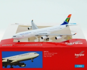 Airbus A340-300 South African w skali 1:500 Herpa 530712
