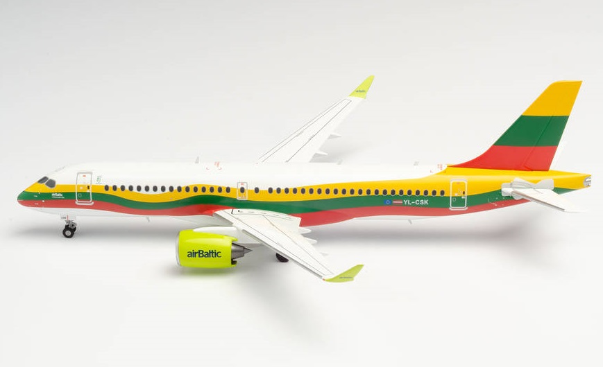 Airbus A220-300 Air Baltic Lithuania w skali 1:200 Bombardier Herpa 570770